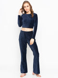 Solid Crop Blouse With Flared Pant Set