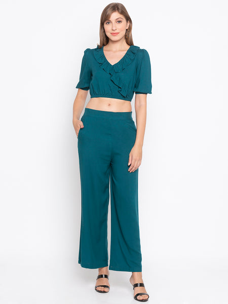 Solid Frill Detail Crop Top & Wide Leg Pants Set