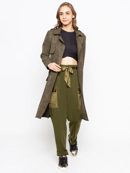 Double Breasted Notch Collar Trench Coat With Belt