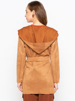 Solid Drape Collar Belted Coat With Hood