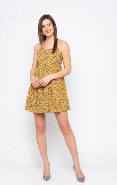 Mustard Ditsy Print Dress