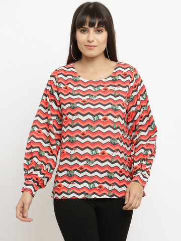 Women's Red Long Sleeves Top