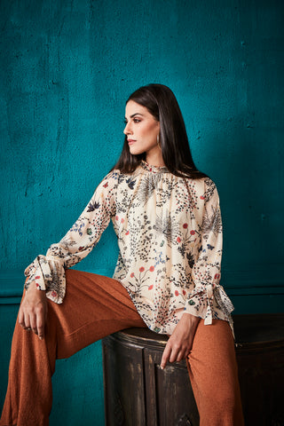 Beige Floral High Neck Tie Sleeves Top