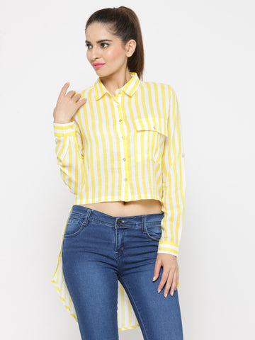 Women Yellow & Off-White Regular Fit Striped Casual Shirt