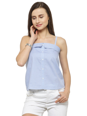 Women's Blue Striped Spagetti Top