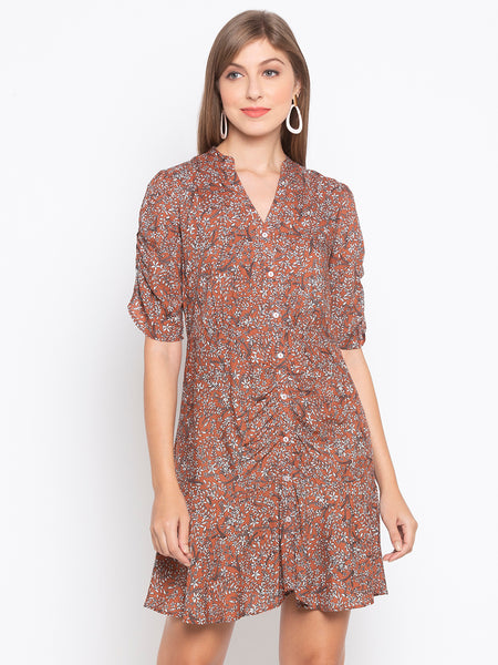 Ditsy Flower Printed Button Front Blouse