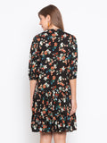 Ditsy Flower Printed Button Front Layer Ruffle Hem Dress