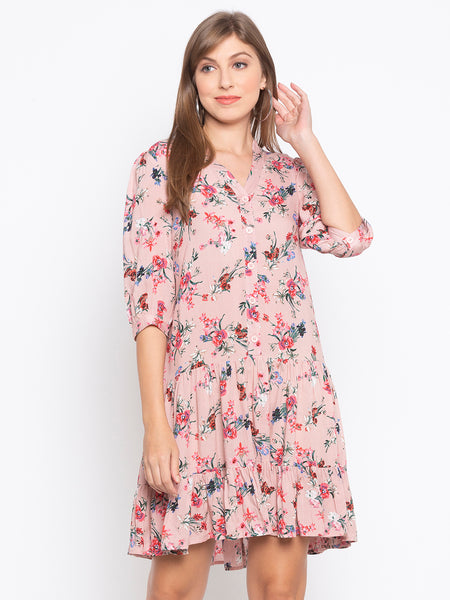 Ditsy Flower Printed Button Front Layered Ruffle Hem Dress