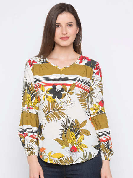 Tropical Floral Print Top