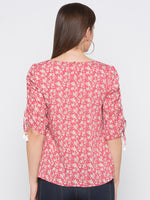 Red Floral Drawstring Sleeves Top