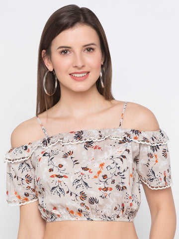 Beige Floral Off Shoulder Crop Top