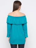 Turquoise Solid Off-Shoulder Top