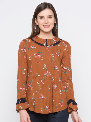 Rust Floral Frill Neck Top