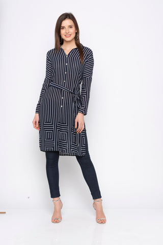 Navy Striped Long Top