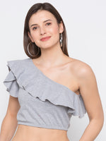 Grey One Shoulder Crop Top