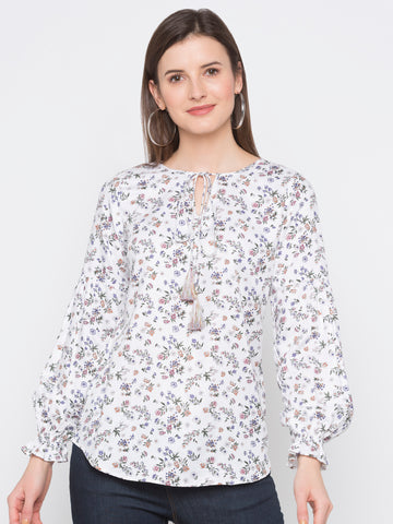 White Floral Tie Neck Top