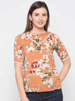 Criss Cross Lace Floral Print Top