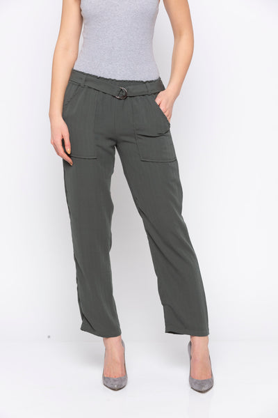 Olive Solid Belt Waisted Pant