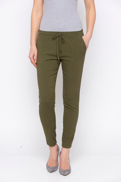 Olive Solid Tie Up Waist Pant