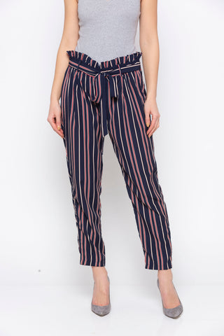 Navy Stripes Paperbag Tie Up Waste Pant