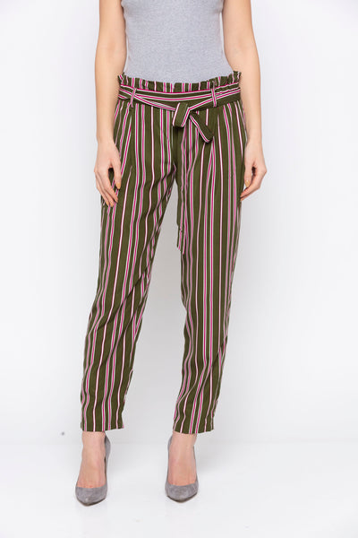 Green Stripes Paperbag Tie Up Waste Pant