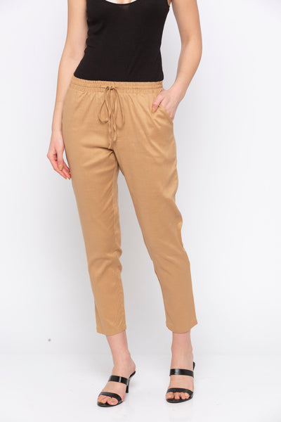 Beige Solid Tie Up Waist Pant