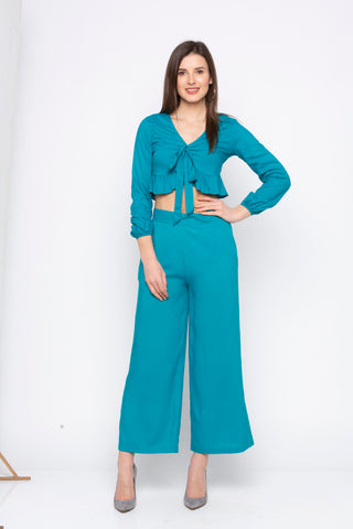 Solid Tie Up Crop Top And Wide Leg Pants Set