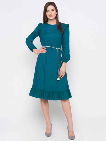 Turquoise Solid Frill Trim Dress