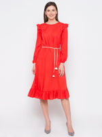 Orange Solid Frill Trim Dress