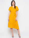 Solid Asymmetrical Hem Shirt Dress