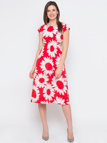 Red Sunflower Printed Cut Out Detail Dress
