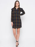 Green Checkered High Neck Dress