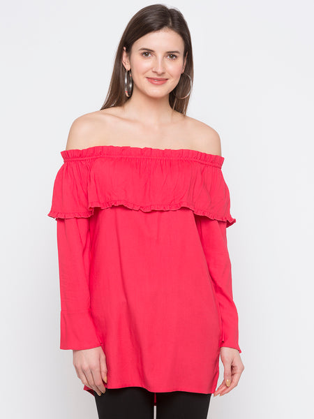 Pink Solid Off-Shoulder Top