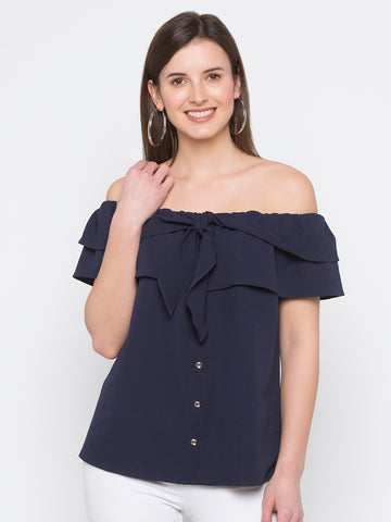 Ruffled Neck Solid Top