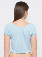 Blue Tie Up neck Crop T-Shirt