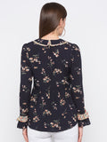 Navy Floral Frill Neck Top