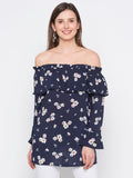 Navy Floral Off-Shoulder Top