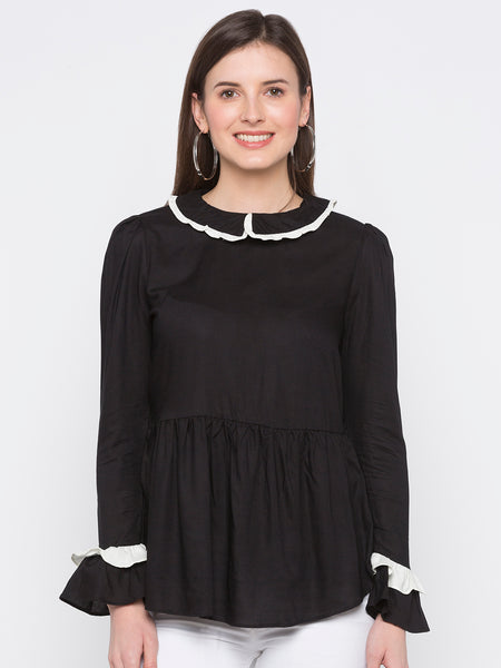 Black Solid Frill Neck Top