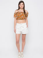 Brown Floral Off Shoulder Crop Top