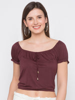 Brown Tie Up neck Crop T-Shirts