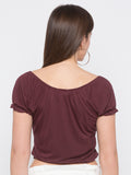 Brown Tie Up neck Crop Top