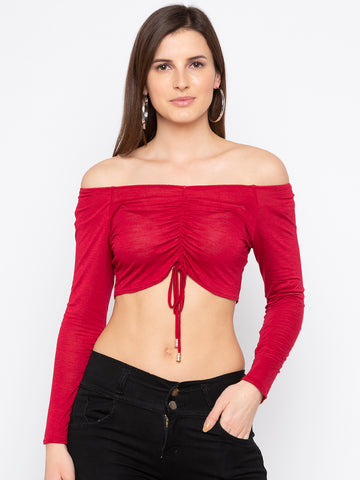 Drawstring Adjustable Crop Blouse