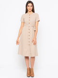 Beige Polka Dot Shirt Dress
