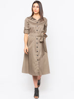 Olive Solid Shirt Dress