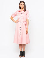 Peach Solid Shirt Dress