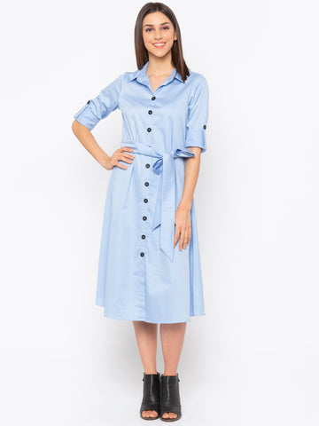 Blue Solid Shirt Dress