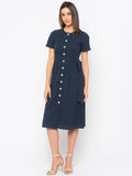 Navy Polka Dot Shirt Dress