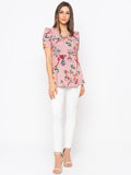Pink Floral Frill Trim  Top