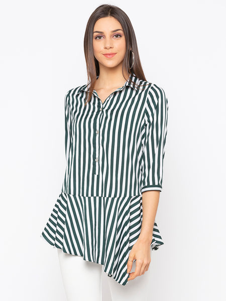 Green Stripes Peplum Top