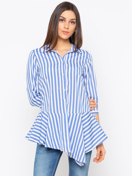 Blue Stripes Peplum Top